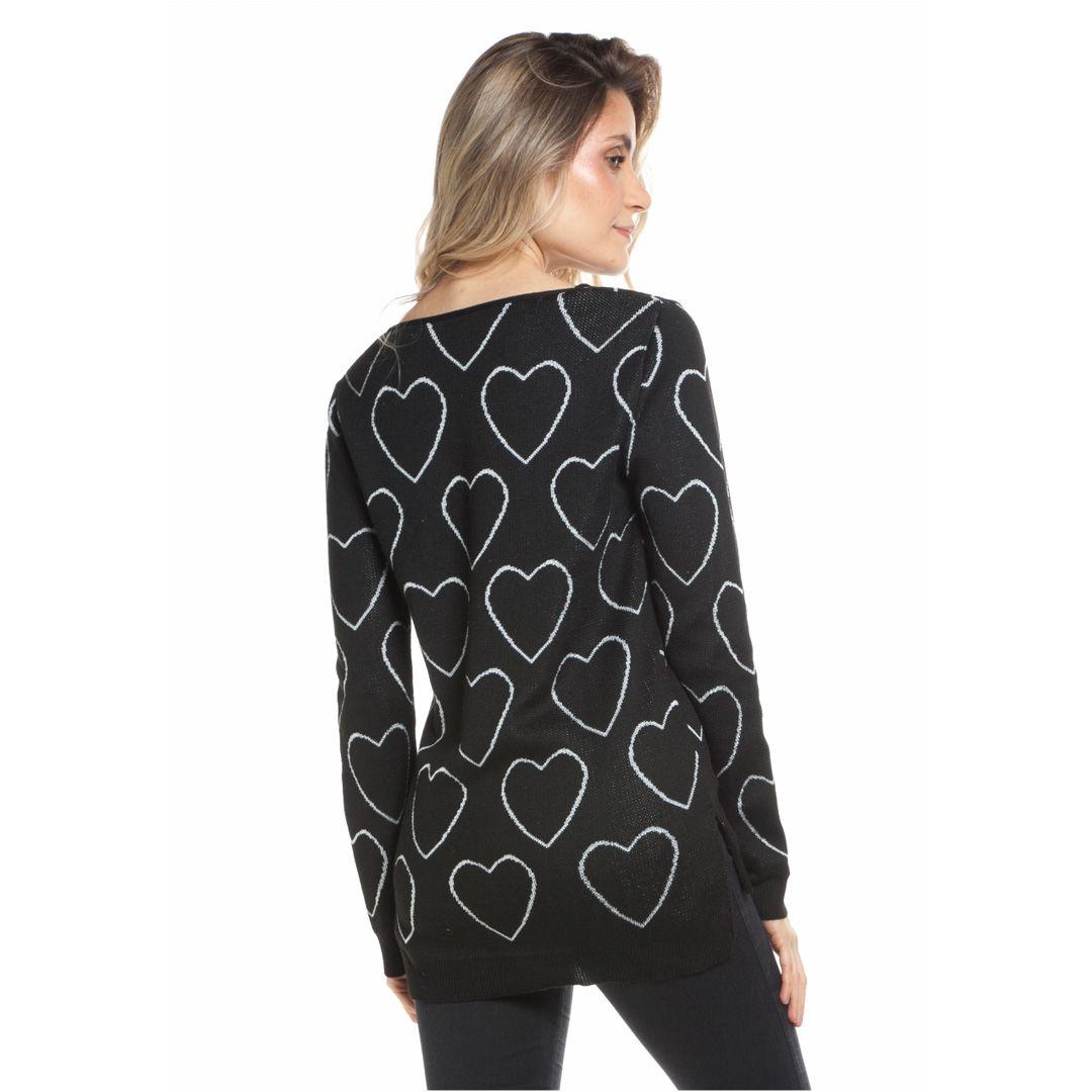 Blusa com jacard de coração - Preto