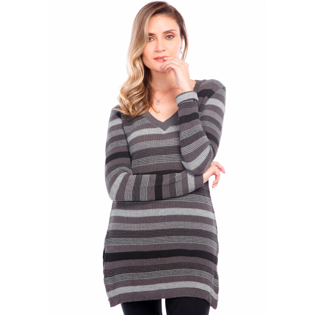 Blusa com shape alongado listrada - Cinza