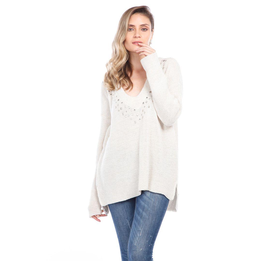 Blusa com tachas - Off White