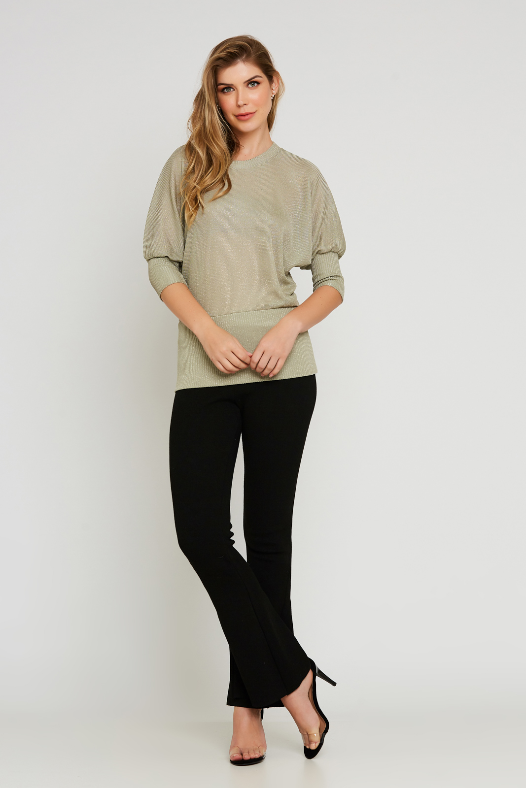 Blusa cós alto tricot - Dourado