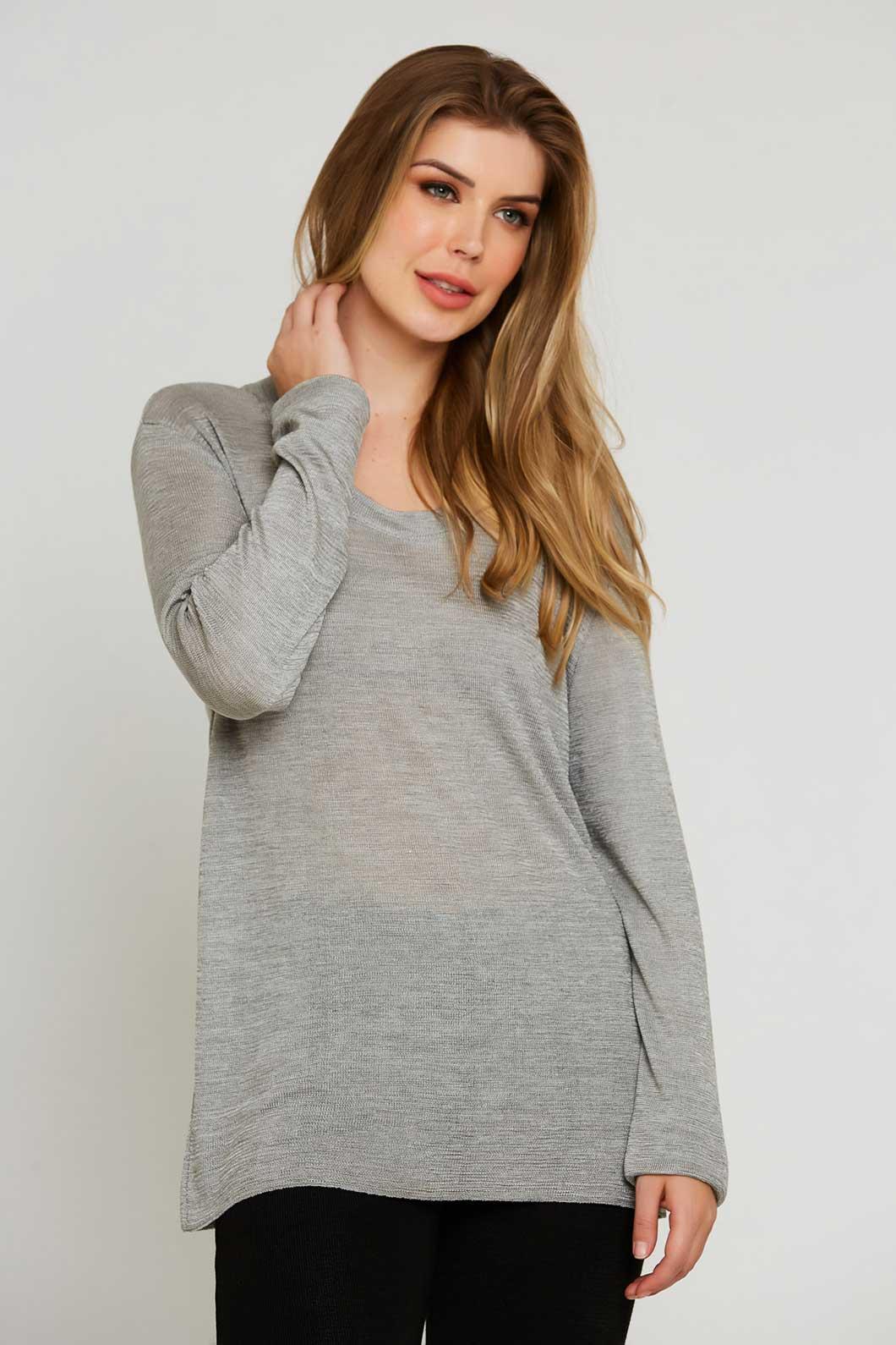 Blusa de Tricot decote redondo - Prata