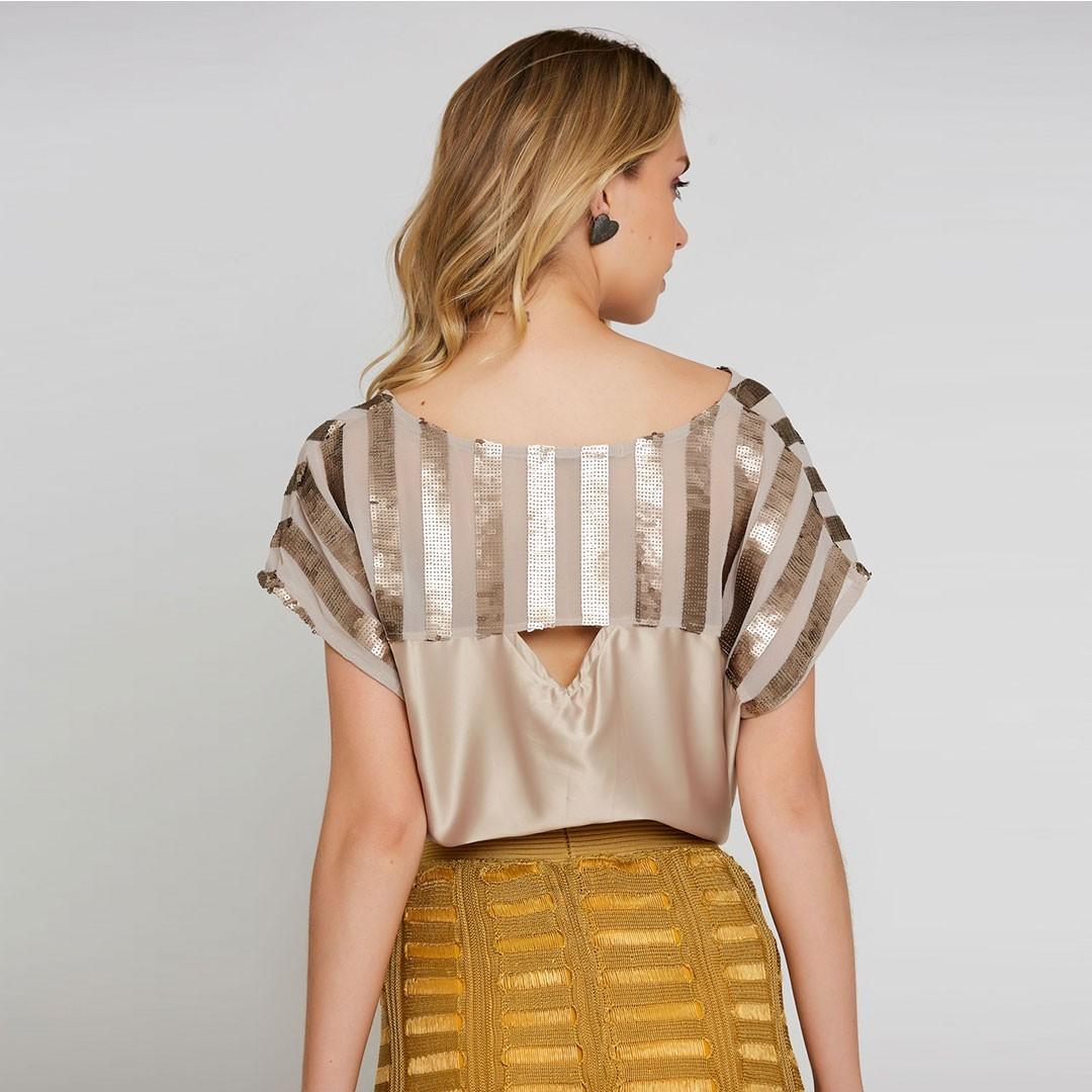 Blusa detalhe paetês - Dourado