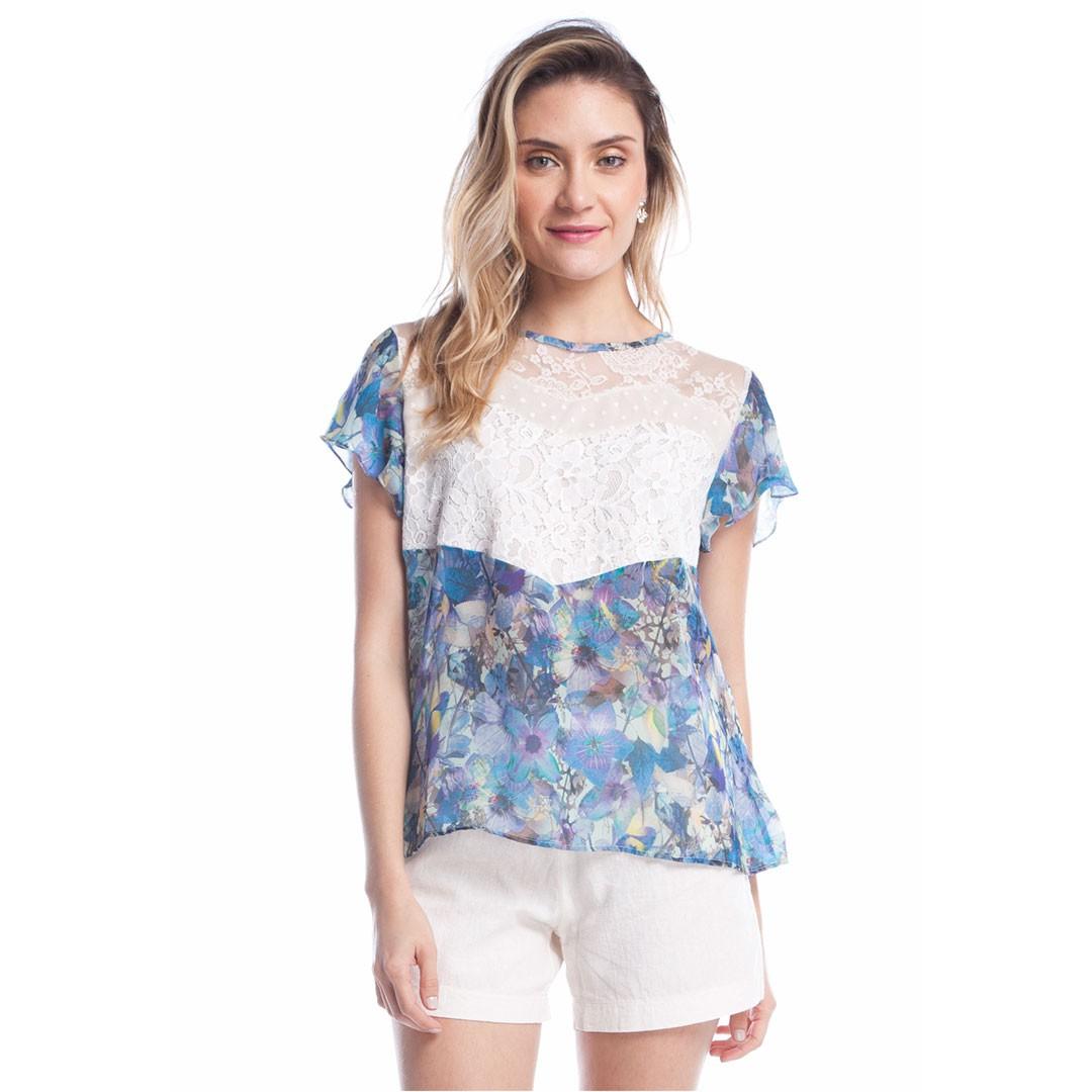 Blusa Estampada com Renda - Azul