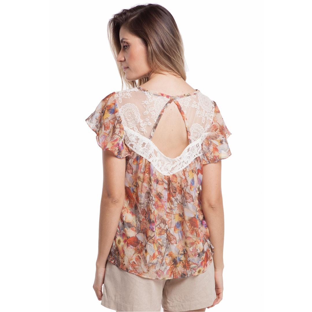 Blusa Estampada com Renda - Bege