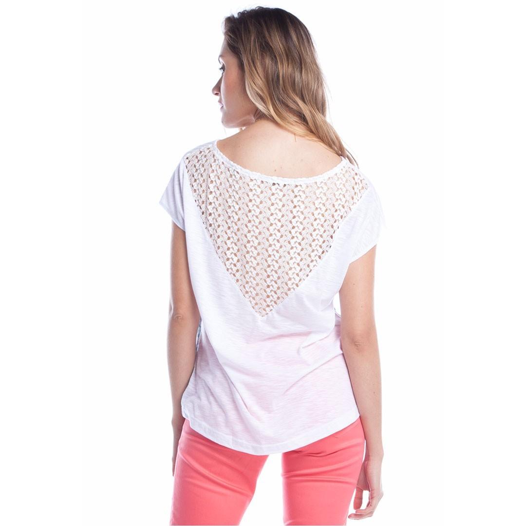 Blusa Estampada Costas Renda - Branco