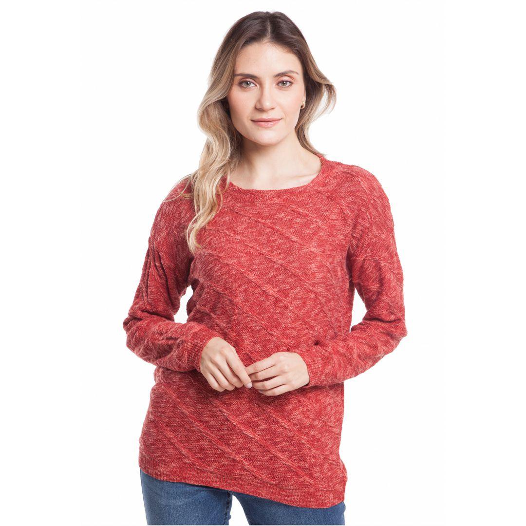 Blusa flammê com gola alta - Vermelho