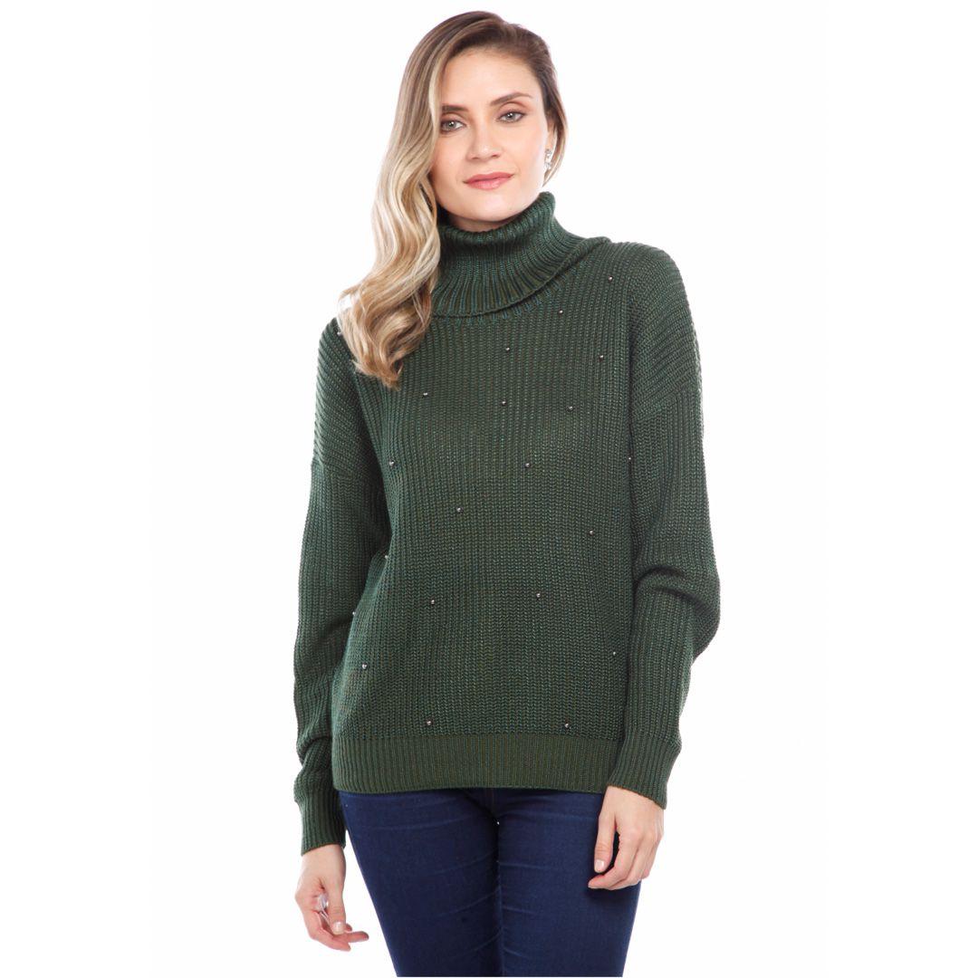 Blusa gola alta com pérolas - Verde