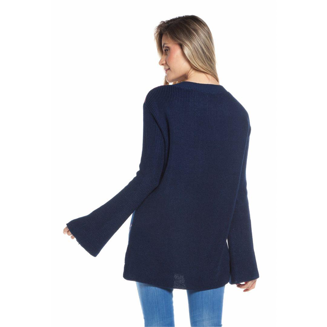 Blusa manga longa jacard - Marinho