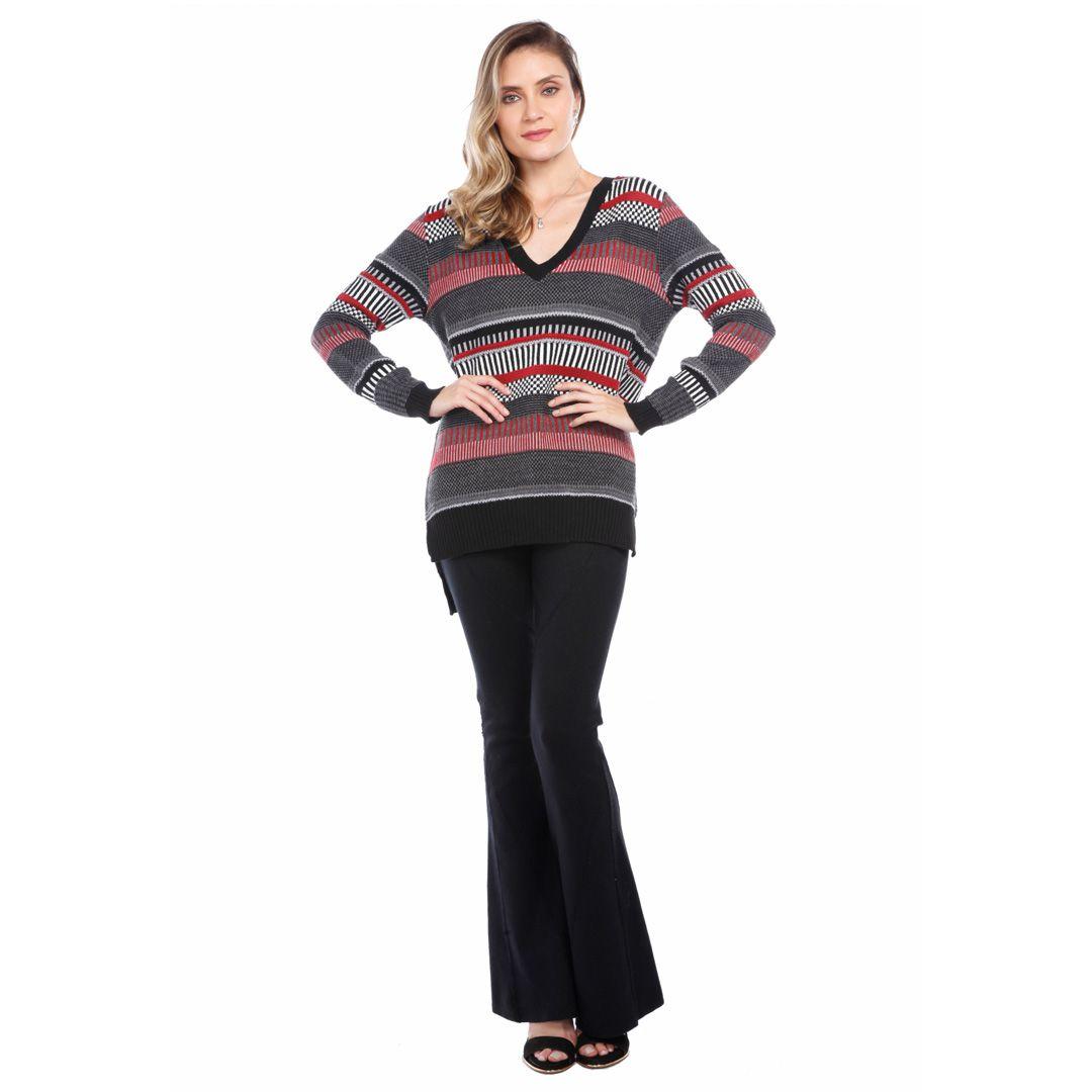 Blusa manga longa jacard - Preto