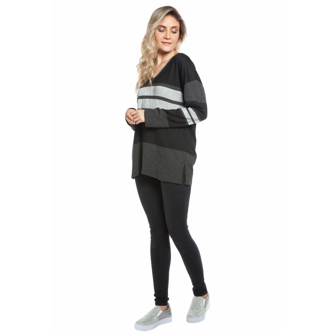 Blusa manga longa listras - Preto