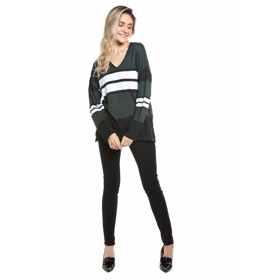 Blusa manga longa listras - Verde