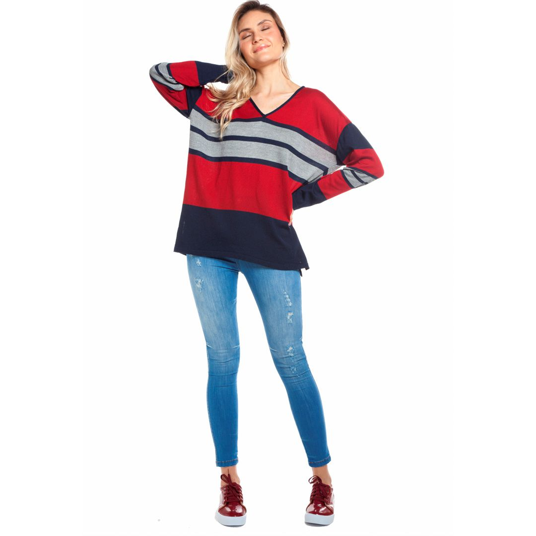 Blusa manga longa listras - Vermelho