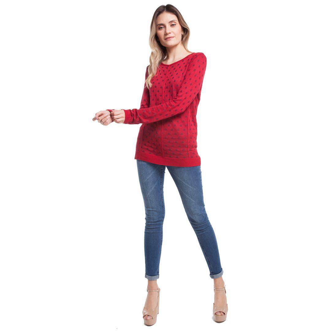 Blusa manga longa poás - Vermelho
