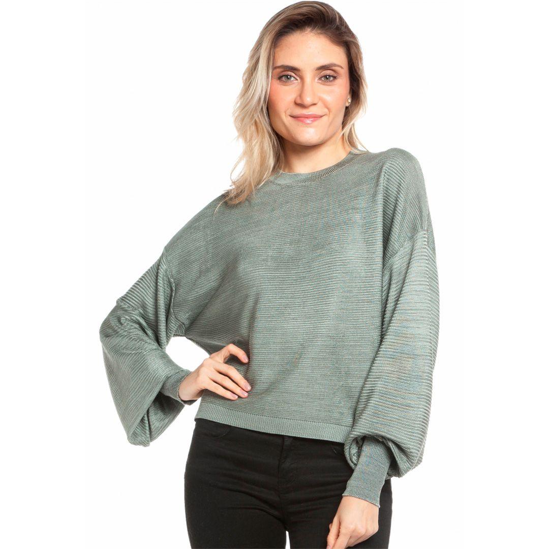 Blusa manga longa relevo com detalhe punhos - Cinza