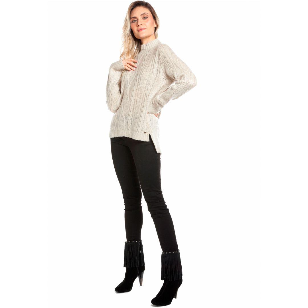 Blusa manga longa tranças - Bege