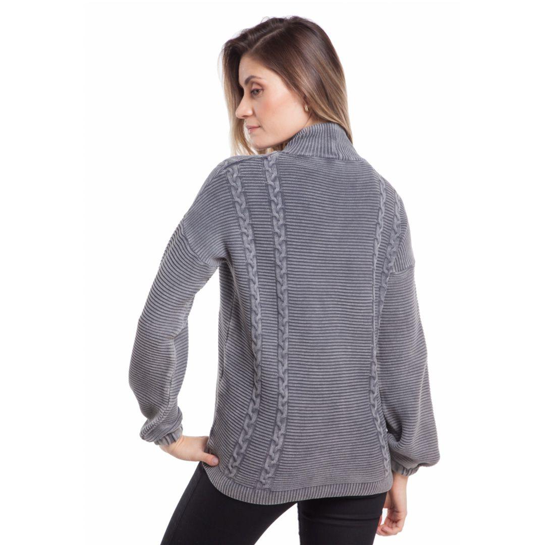 Blusa manga longa tricot estonado - Cinza