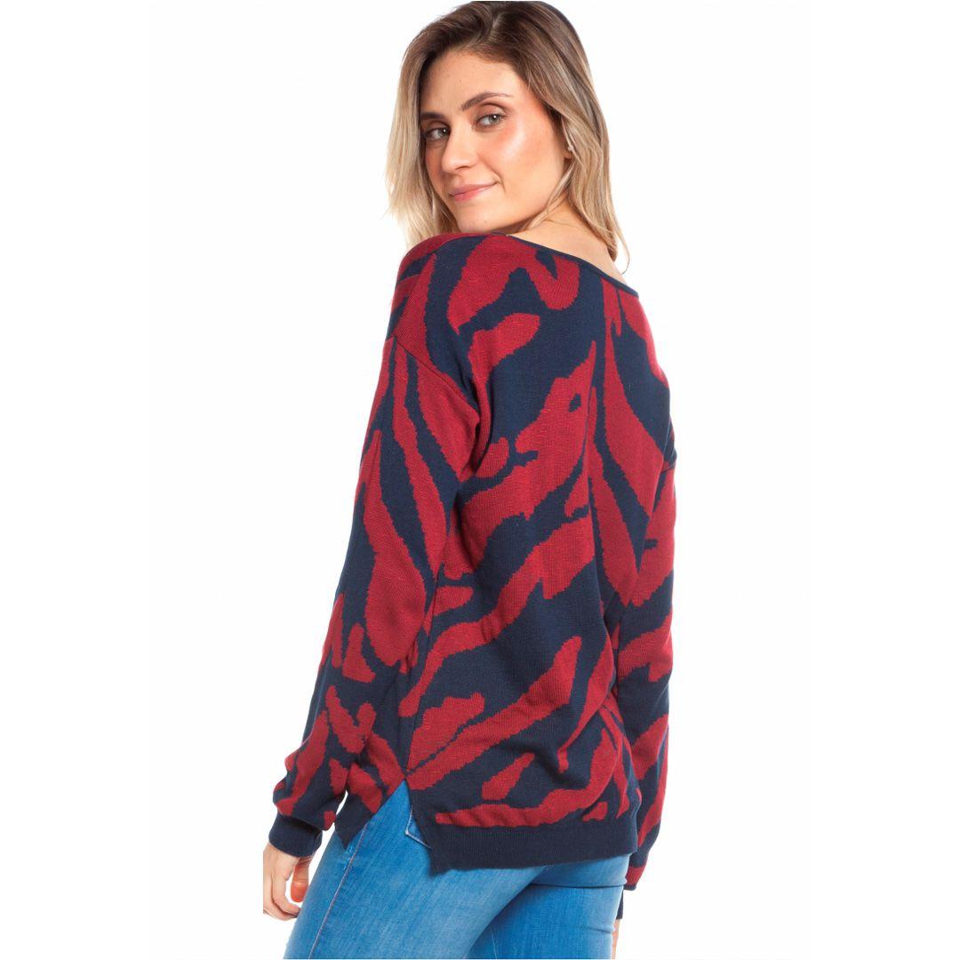 Blusa manga longa zebra - Marinho