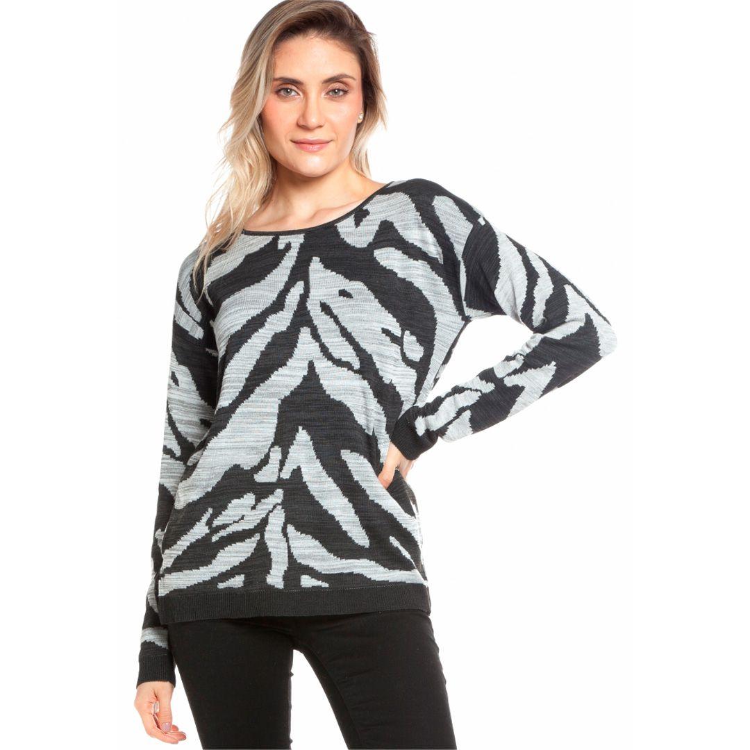 Blusa manga longa zebra - Preto