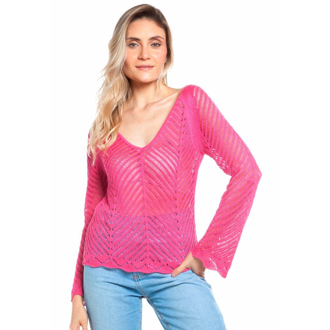 Blusa ponto rendado espinha de peixe - Rosa