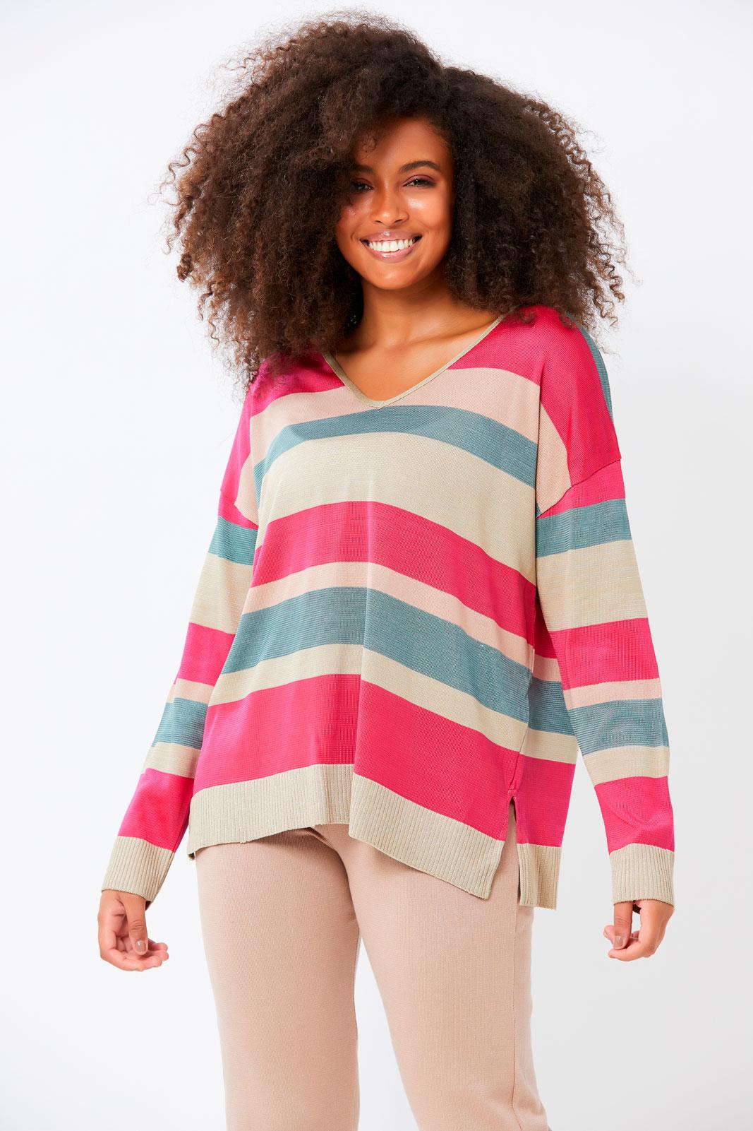 Blusa Ralm ampla tricot listrada multicolorida