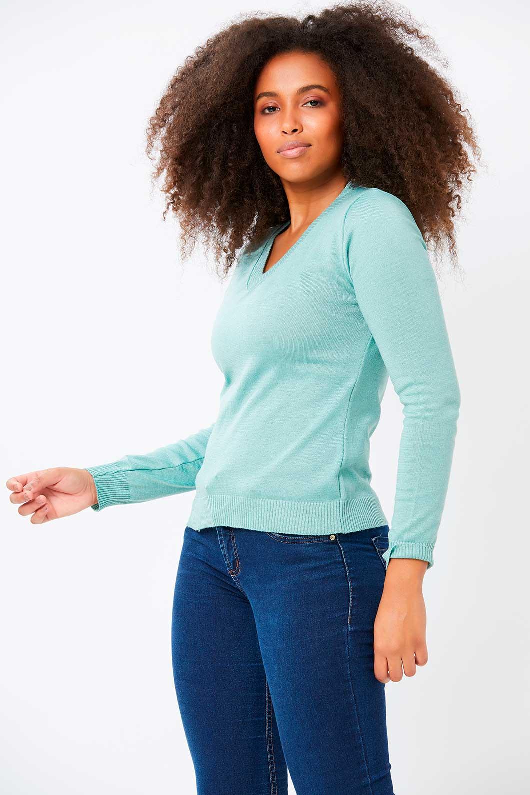 Blusa Ralm decote V Tricot - Verde