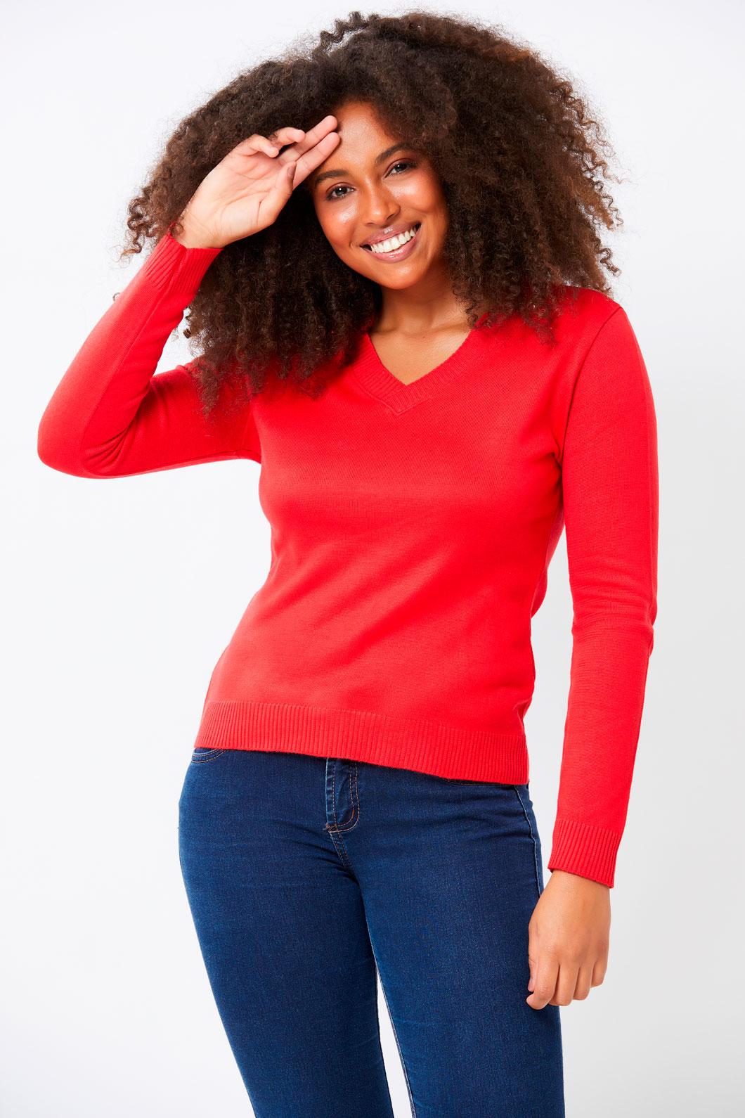 Blusa Ralm decote V Tricot - Vermelho