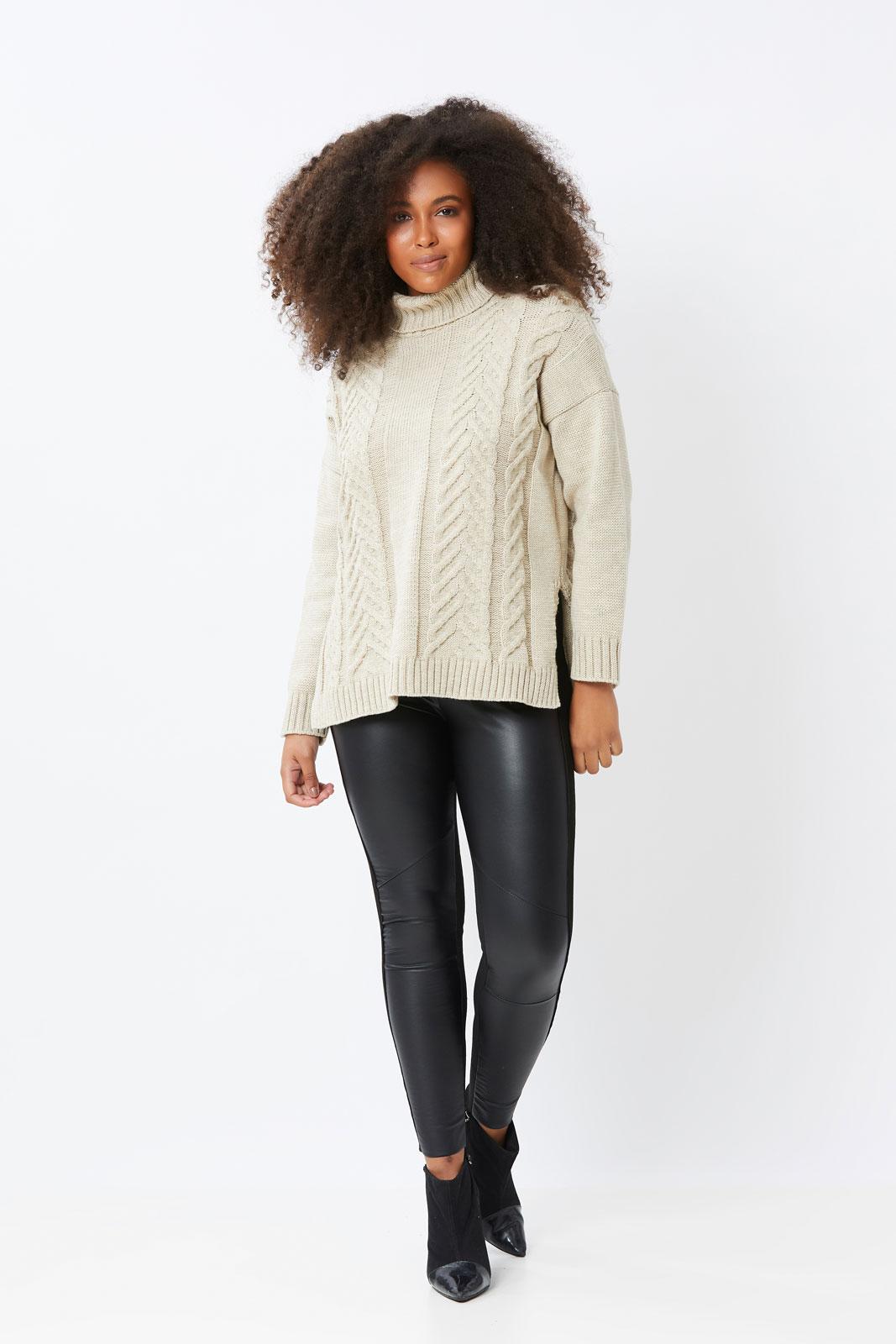 Blusa Ralm suéter de tricot em tranças