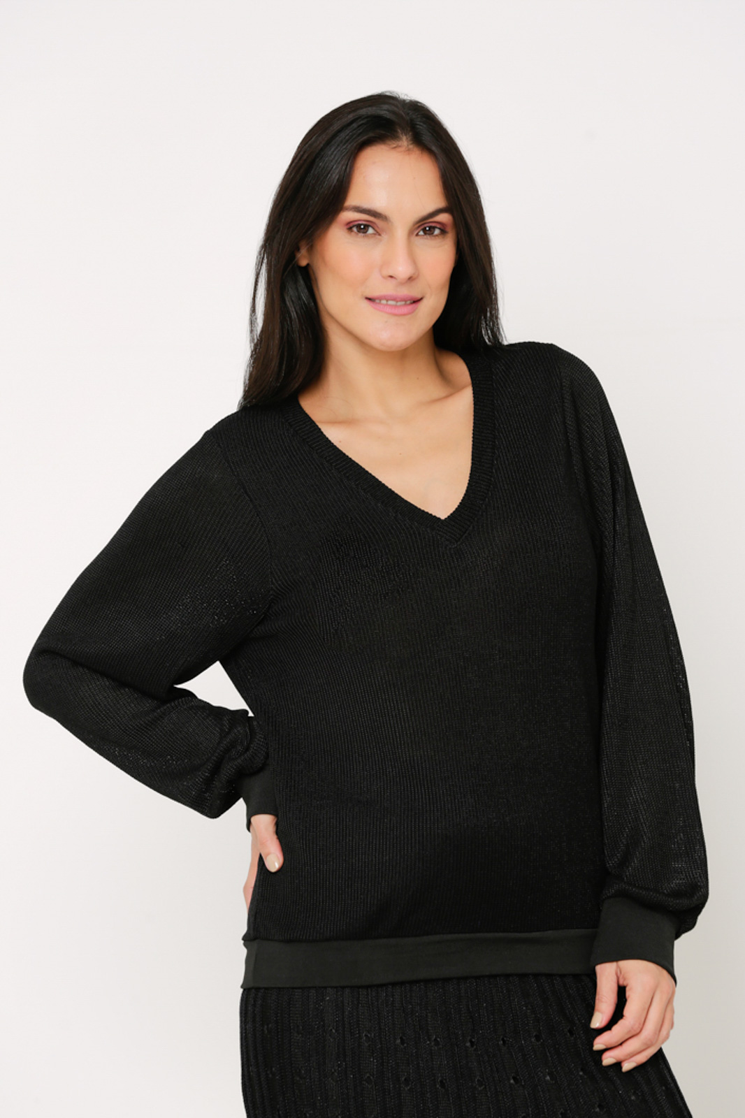 Blusa Ralm tricot ampla decote V manga fofa