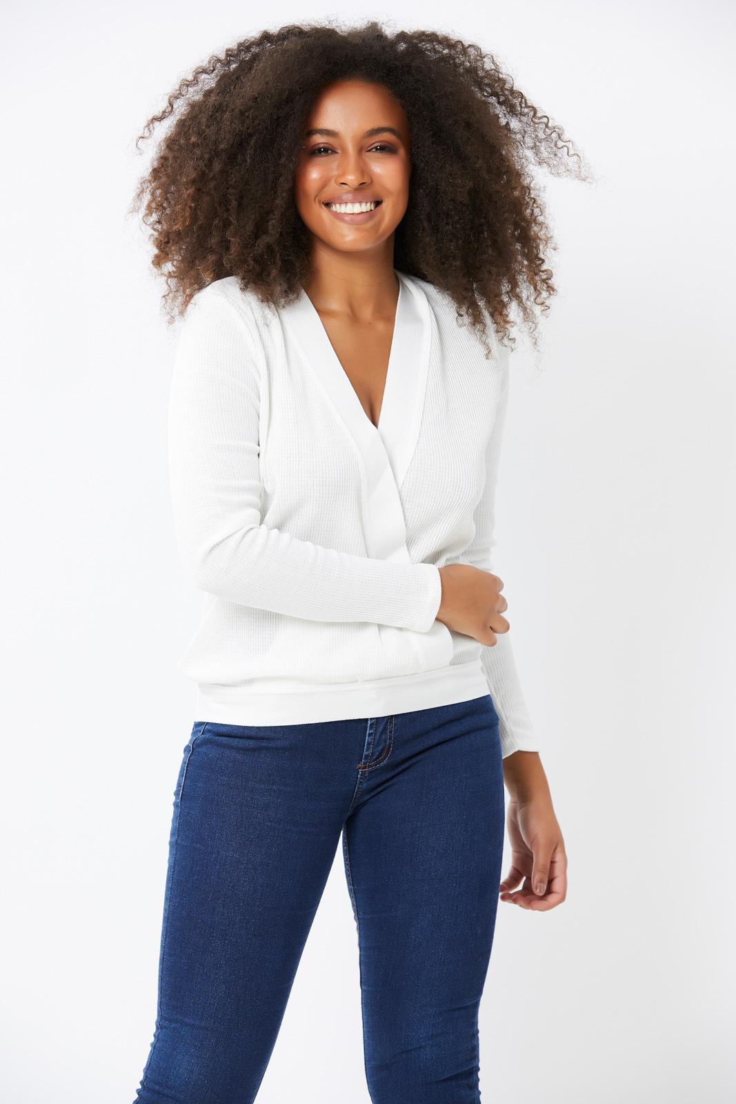 Blusa Ralm tricot suéter cachecour - Branco