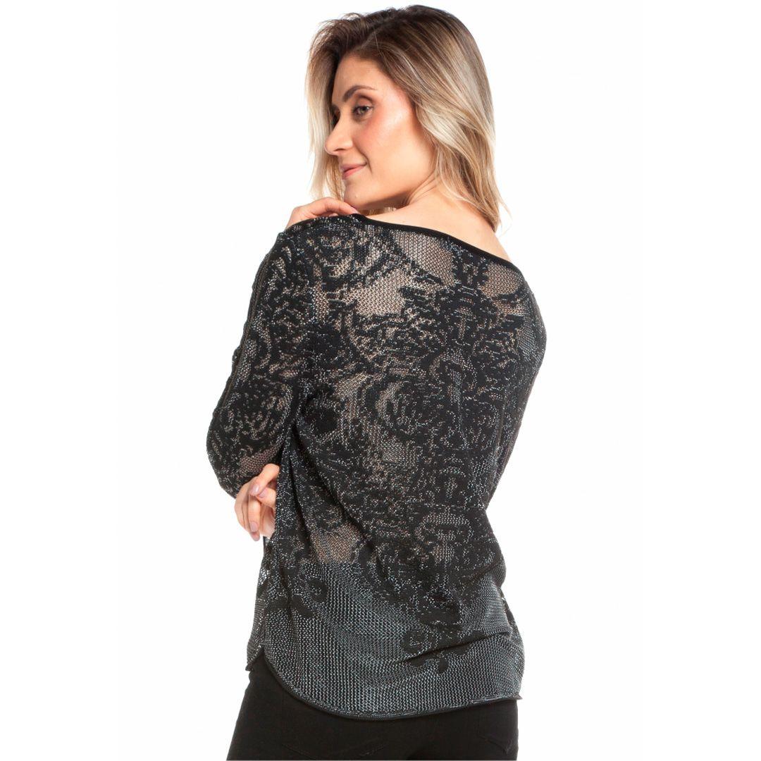 Blusa rendada floral - Preto