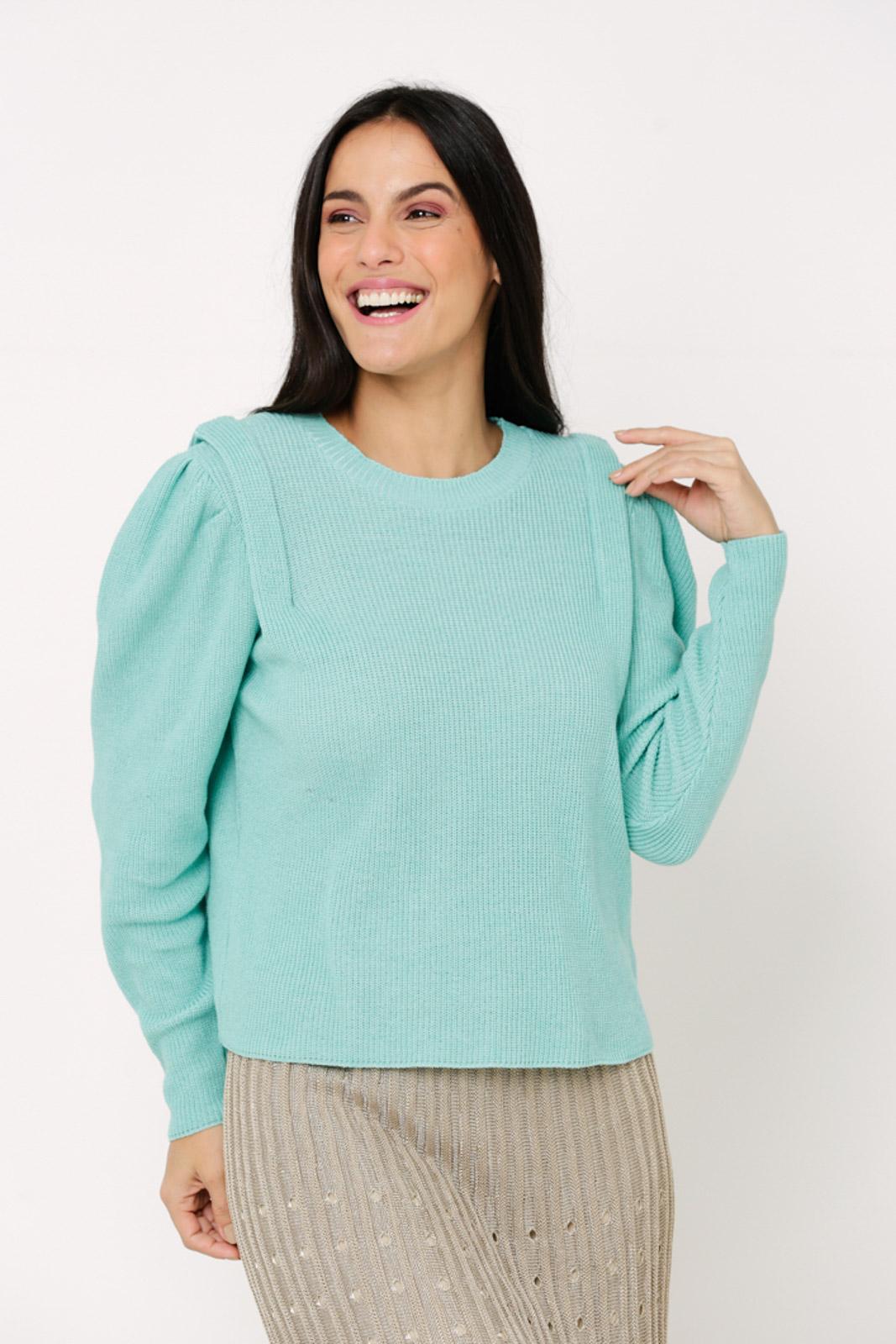 Blusa suéter Ralm de Tricot manga bufante - Verde