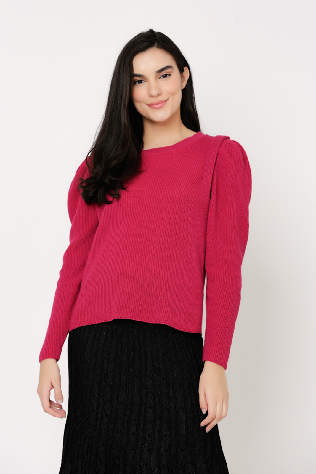 Blusa suéter Ralm de Tricot manga bufante - Pink