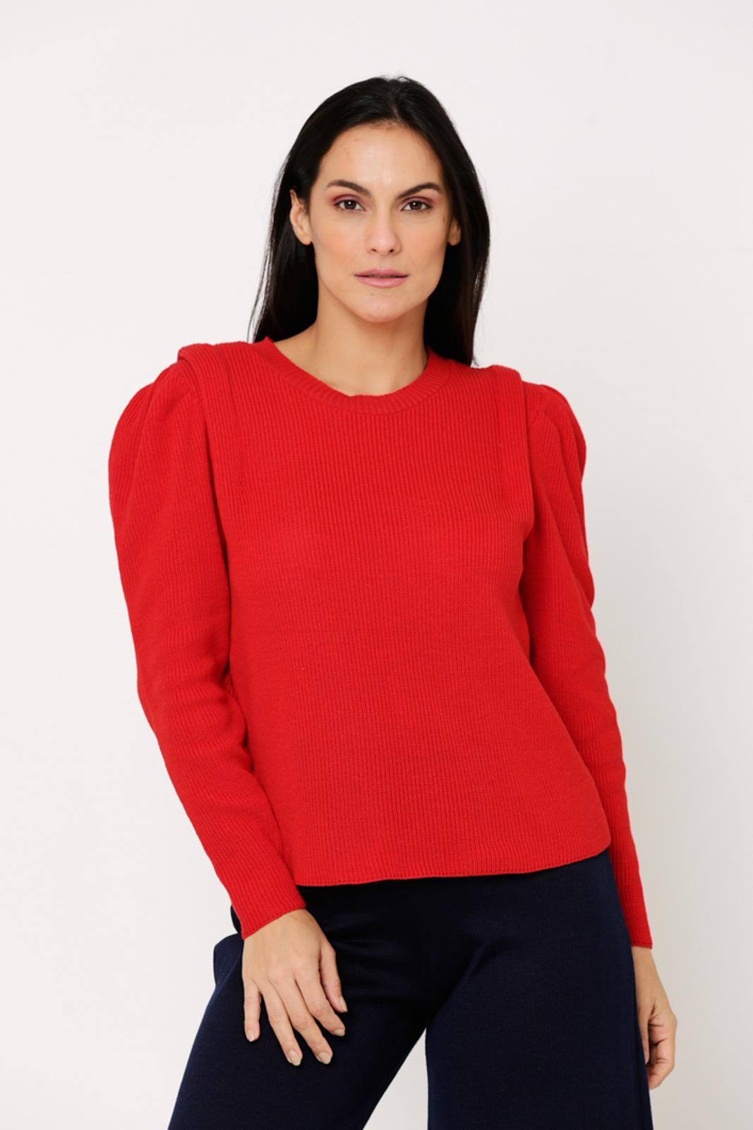 Blusa suéter Ralm de Tricot manga bufante - Vermelho