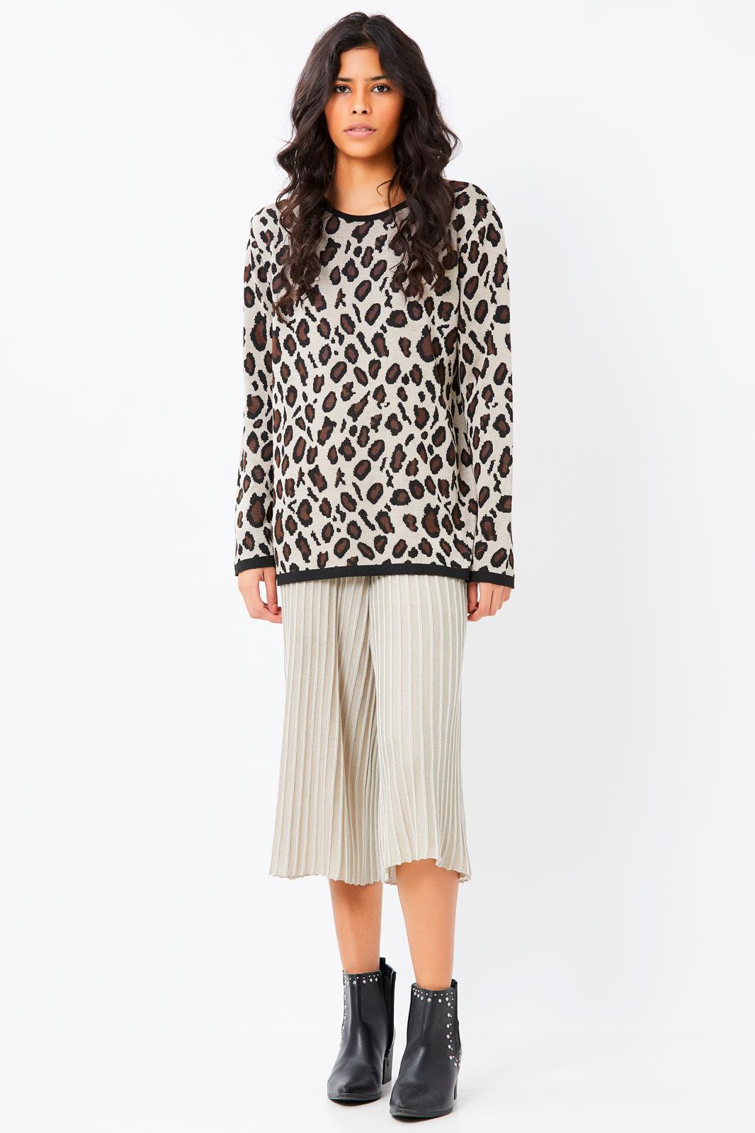 Blusa Suéter Ralm manga longa tricot animal print - Preto/Bege