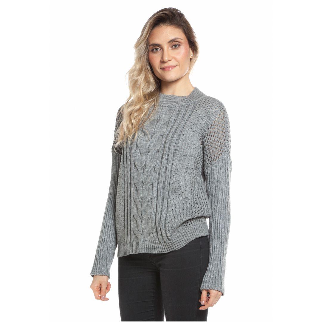 Blusa tranças com manga canelada - Cinza