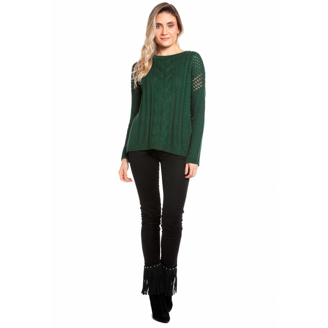 Blusa tranças com manga canelada - Verde