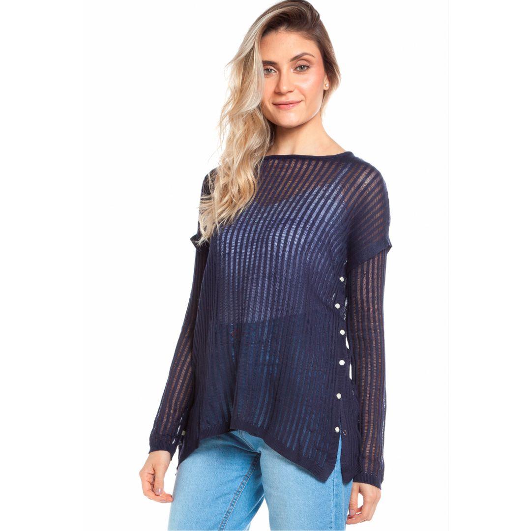 Blusa transparente - Marinho