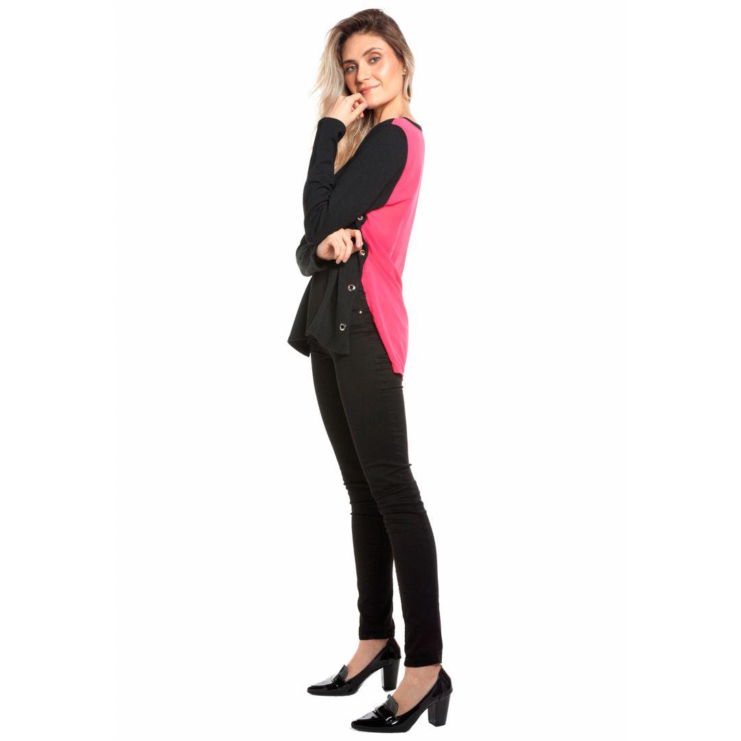 Blusa tricot com costas de tecido - Pink