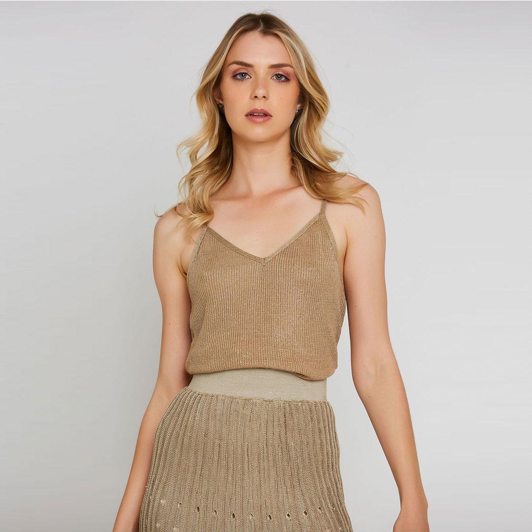 Blusa Tricot  Lurex Alças - Dourado
