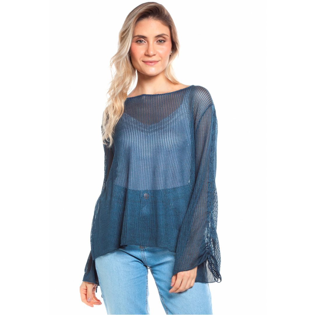 Blusa tricot rendado - Azul