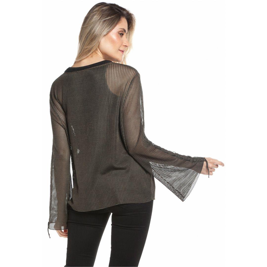 Blusa tricot rendado - Verde