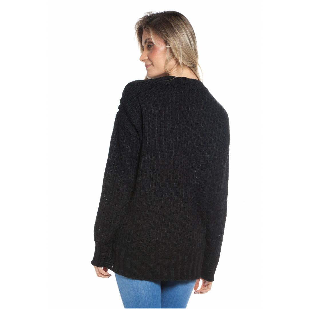 Blusa tricot tramado - Preto
