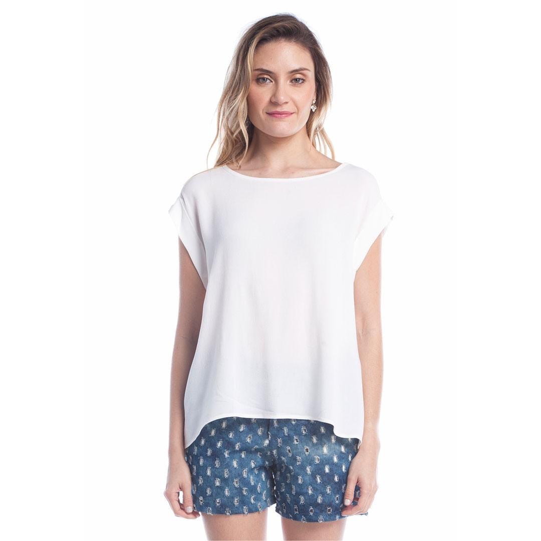 Blusa Viscose com Renda - Off White