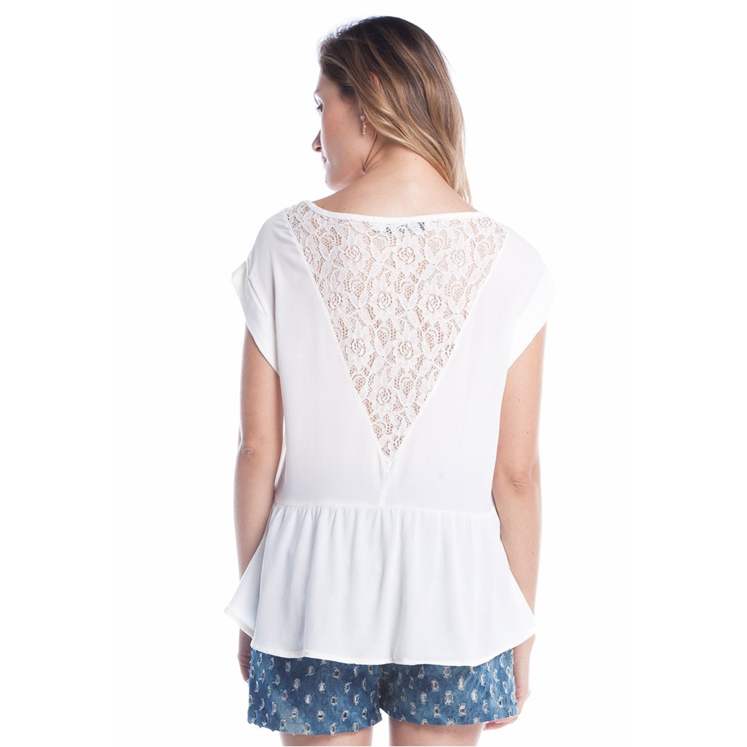 Blusa Viscose com Renda - Off White
