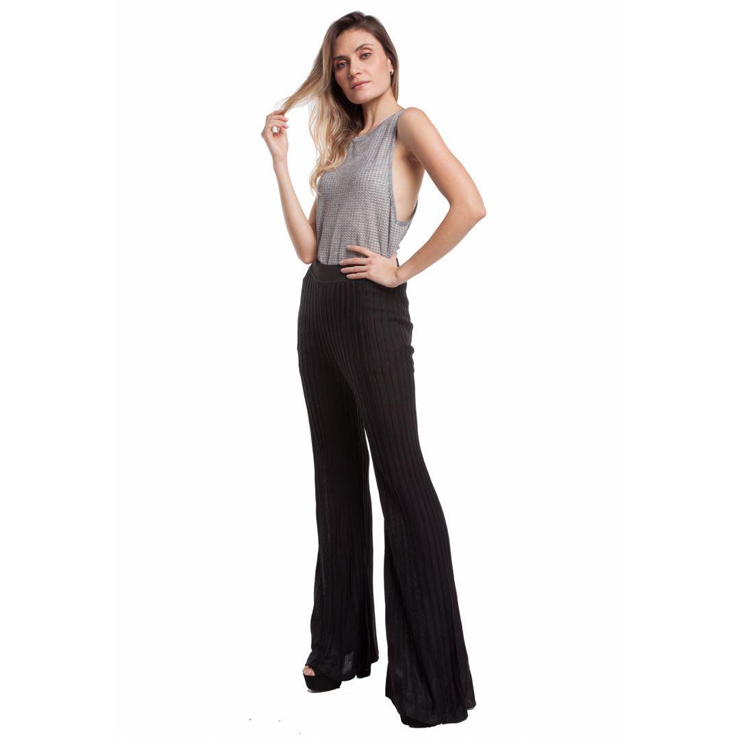 Calça cintura alta plissê