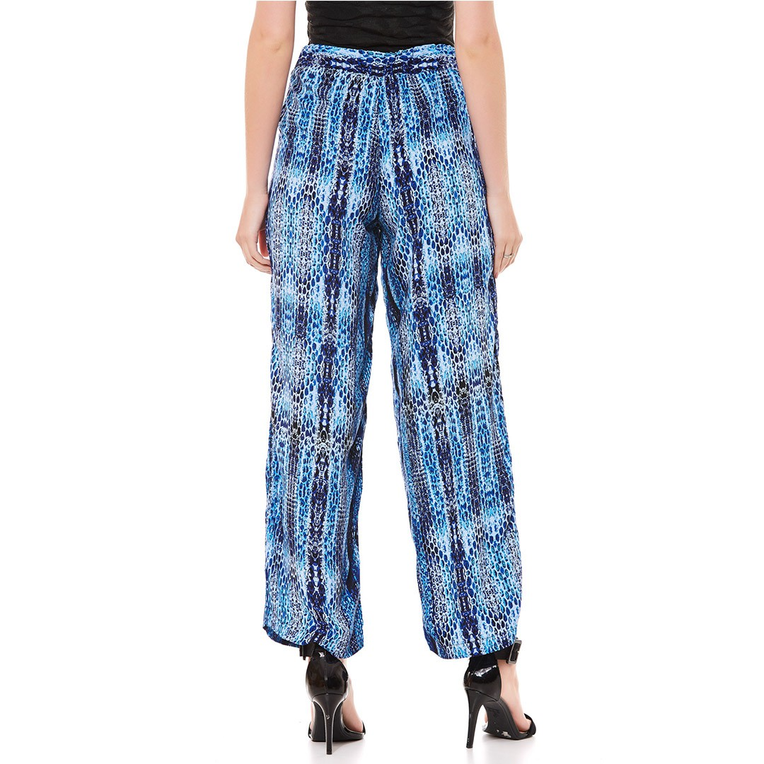 Calça Pantalona Estampada - Azul