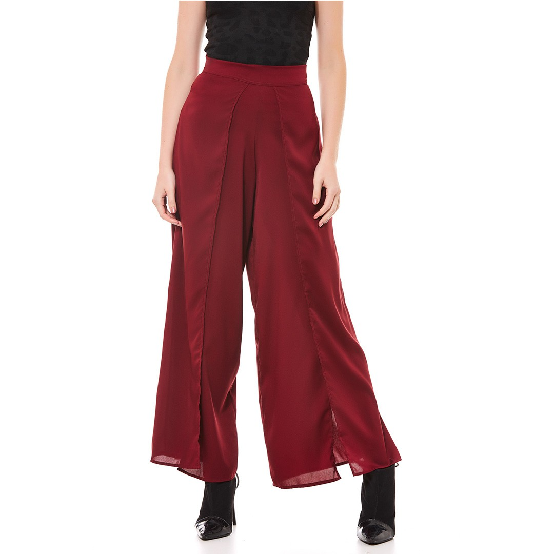 Calça Pantalona - Vinho