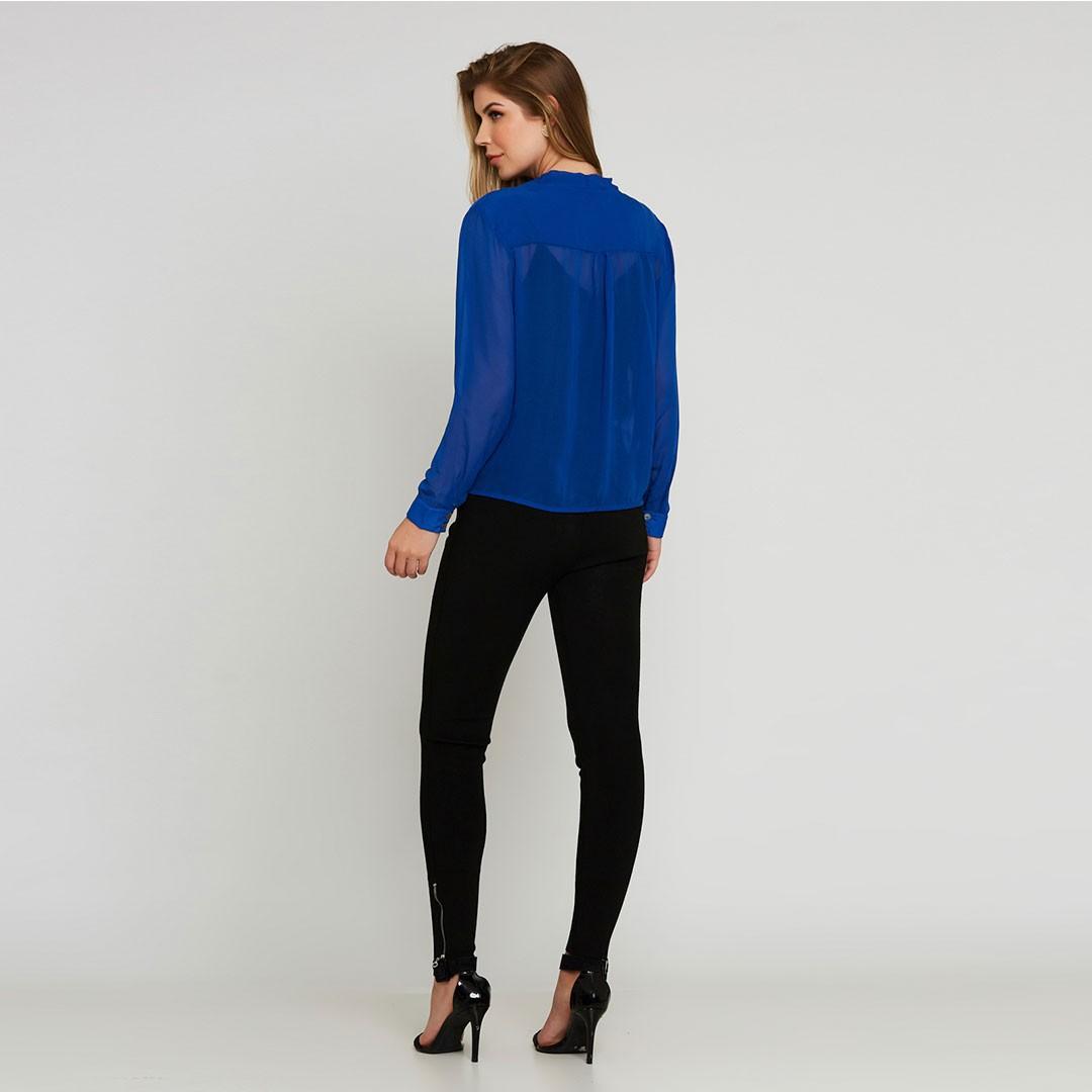 Camisa chiffon manga longa transpassada - Azul