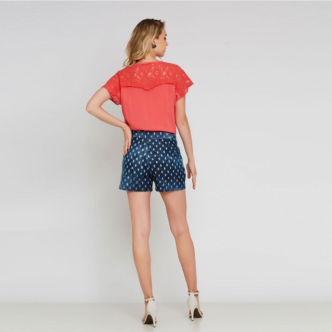 Camisa com detalhes de renda - Laranja