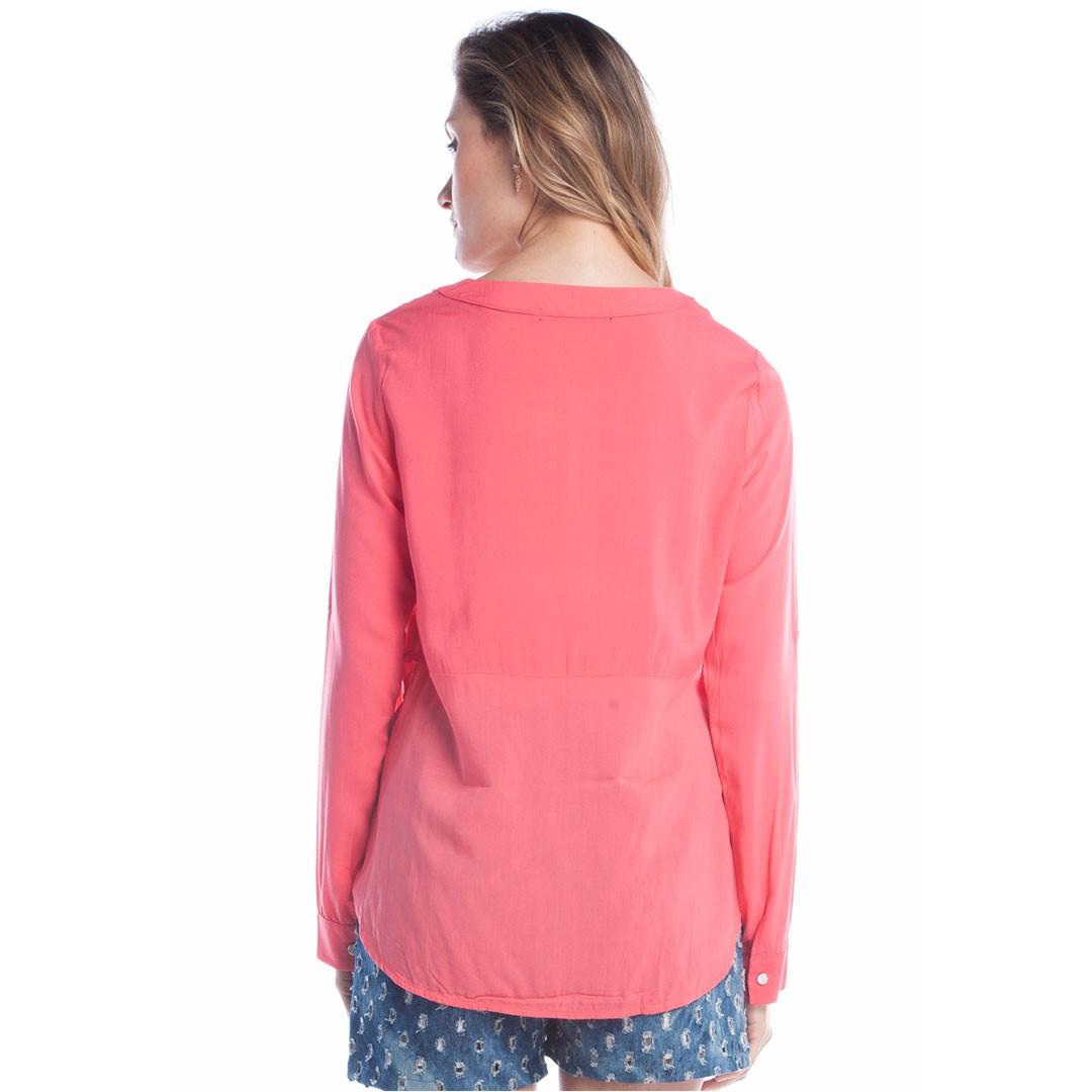 Camisa Manga longa abertura no pescoço - Rosa